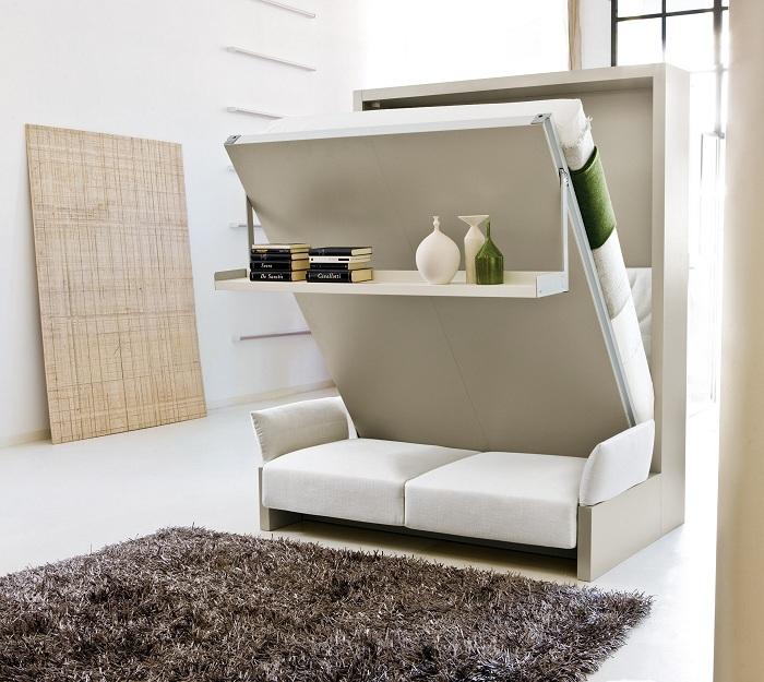 Предпочтение в маленьких комнатах, чаще всего отдается многофункциональной мебели.