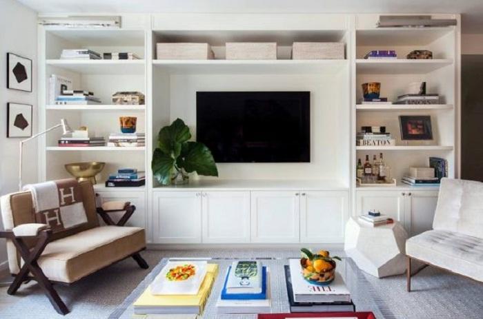 Просто отличный вариант создать оптимальное место для телевизора, что преобразит интерьер.