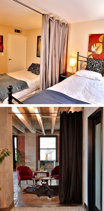 Отличный вариант разделить комнату или создать эффект дверей, при помощи обычной шторы, что будет зонировать пространство.