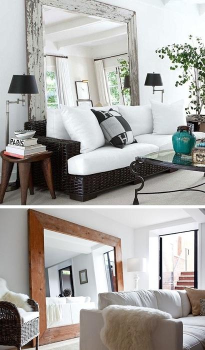 Хороший вариант для того чтобы украсить интерьер гостиной, при помощи обычного зеркала и правильной расстановки мебели.