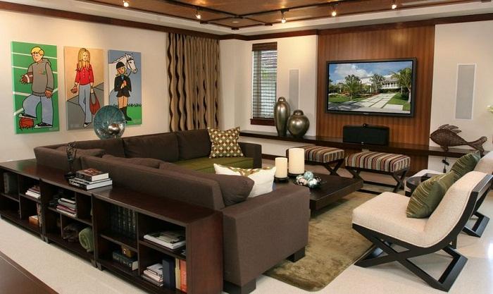 Дизайн комнаты в цветовой гамме «кофе с молоком» станет просто наилучшей находкой для оформления гостиной.