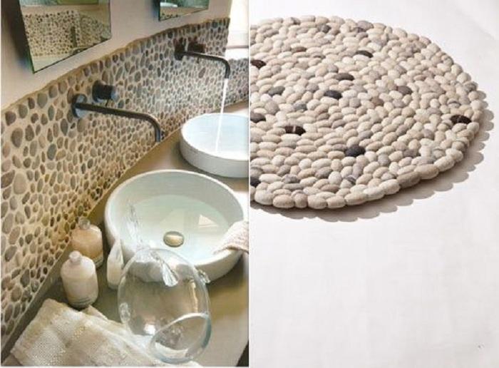 Интересными вариантами для украшения дома могут стать просто отличные украшение созданные благодаря обычной гальке.