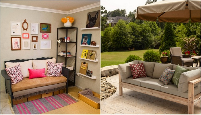 Примеры оформления интерьеров при помощи украшения их диванами и софами.