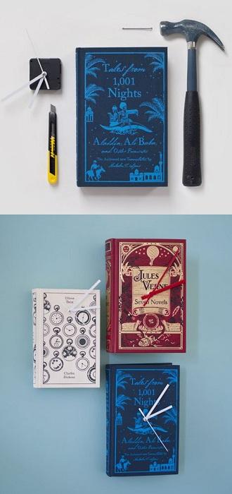 Обложка книги превращается в современные и красивые часики.