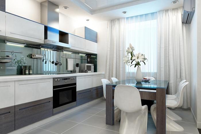 Интерьер кухни, что станет лучшим вариантом декора комнаты такого плана.