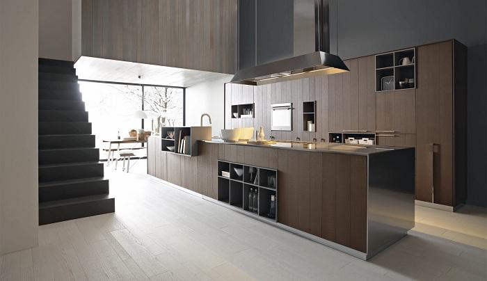 Хорошенький вариант оформить кухню с помощью деревянных текстур.