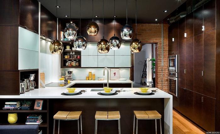 Милый интерьер кухни в коричневых тонах, что вдохновит и станет прекрасным решением.