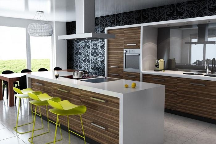 Кухня с деревянными элементами, что позволит максимально быстро облагородить интерьер.