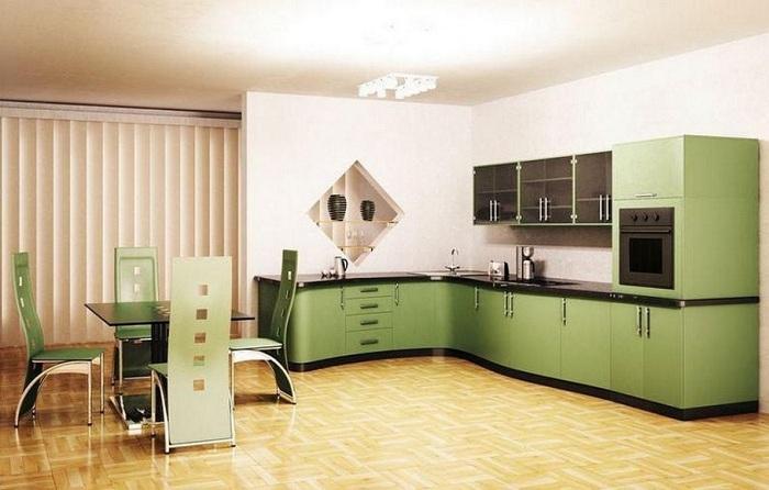 Симпатичное декорирование кухни в симпатичных оливковых тонах.