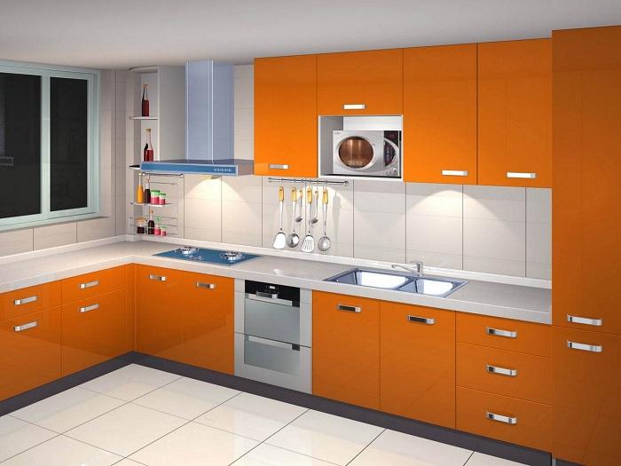 Кухня в апельсиновом цвете, что станет находкой и лучшим решением.