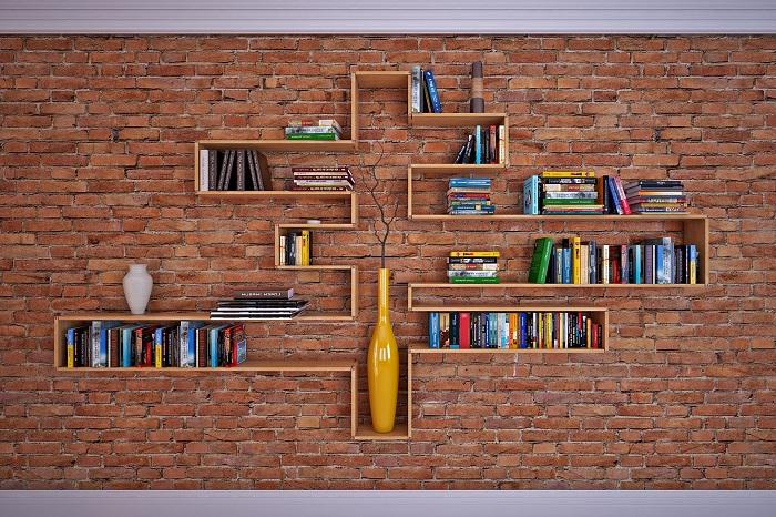 Оформить интерьер комнаты возможно быстрому преображения её с помощью полок.