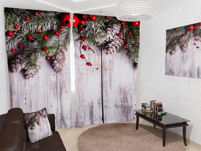 Создать праздничную обстановку возможно благодаря новогодним принтам на шторах.