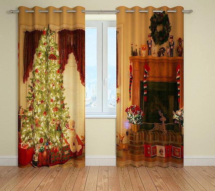 Принты новогодних штор способны сделать комнату сказочной.