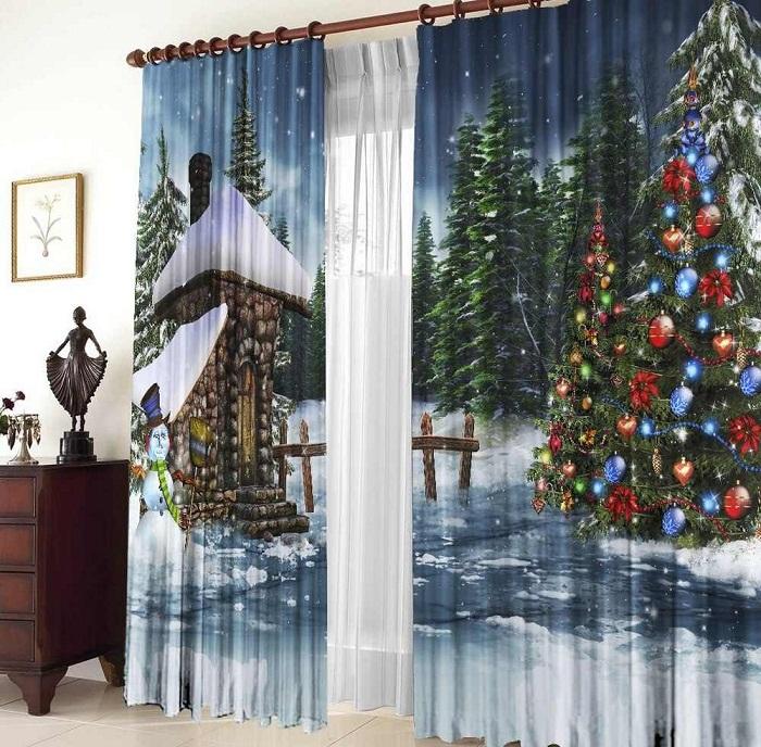 Новогодние шторы в интерьере - украсят и преобразят обстановку.