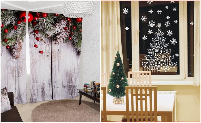 Примеры декора окон к Новому году.