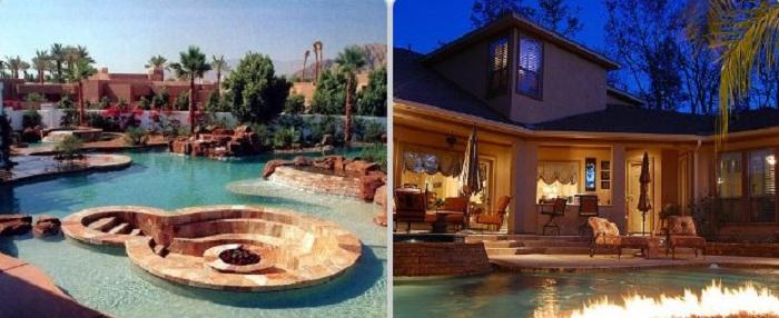 Отличное решение создать оригинальный бассейн по соседству с костром.
