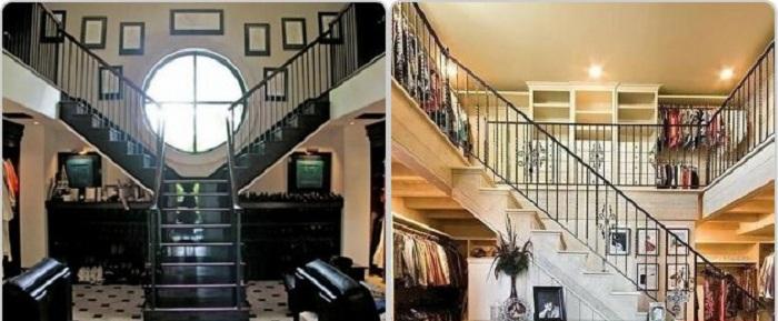 Пожалуй одно из самых интересных решений - создать двухэтажный гардероб, что понравится любой девушке.