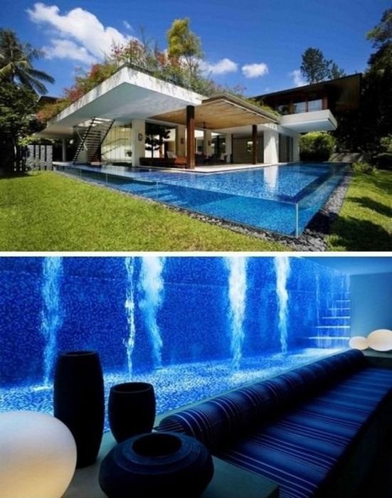 Очень стильный стеклянный бассейн, который облагородит любой двор и точно произведет впечатление.