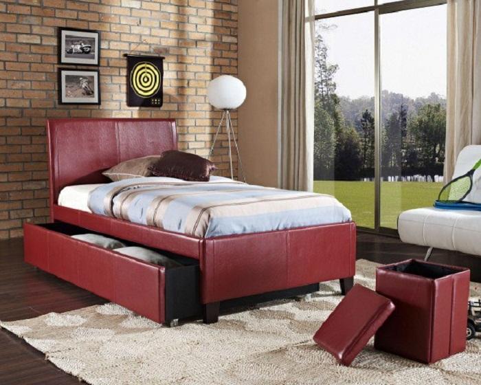 Отличный интерьер в спальной, создан благодаря симпатичным и оригинальным решениям по экономии пространства.