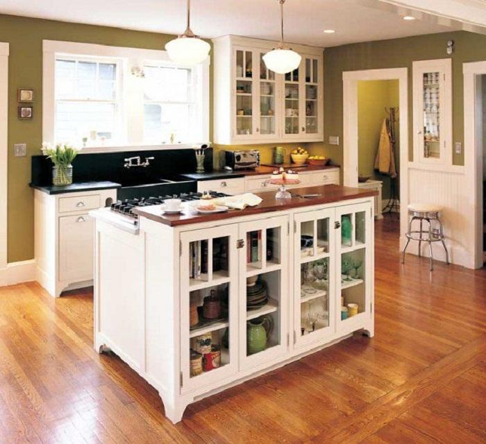 Удачный и оригинальный вариант создать просто хорошее настроение и оптимизировать полезное пространство по максимуму на кухне.