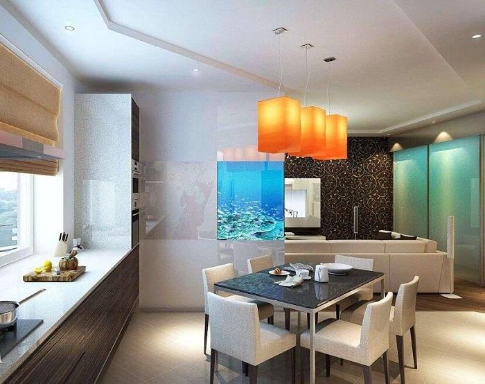 Отличный интерьер гостиной прекрасно сочетается с столовой, которые граничат и создают просто легкую и комфортную атмосферу.