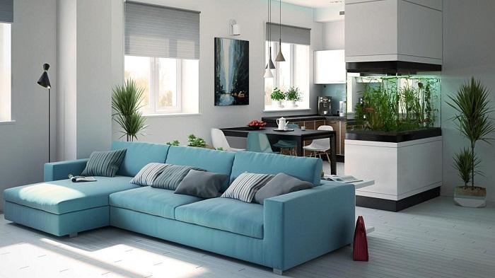 Симпатичное и очень актуальное оформление комнат с целью их совмещения, что создаст интересный интерьер.