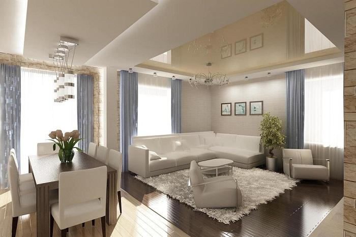 Симпатичный и удачный интерьер создан благодаря оригинальному совмещению комфортных и удачных пространств.