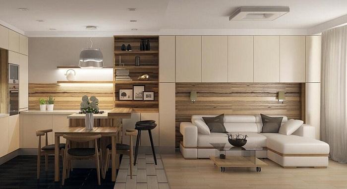 Интересное решение совместить интерьер гостиной и столовой, что позволит оптимизировать по максимуму пространство.