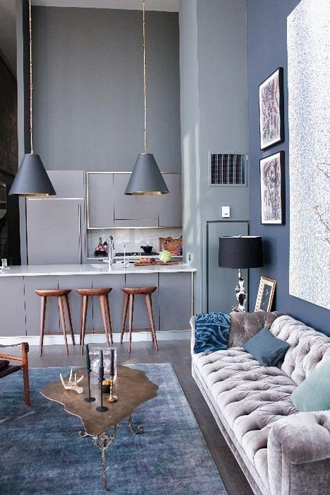 Оптимальное и очень интересное решение для декорирования пространства в доме благодаря серым оттенкам.