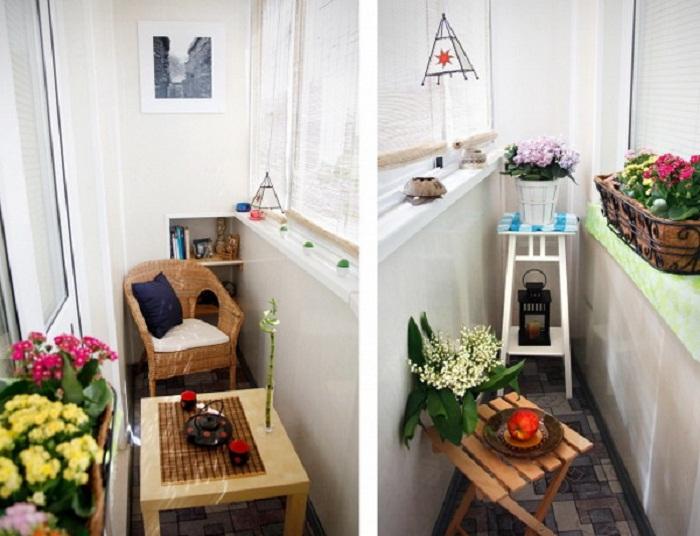 Цветы в горшках – это хорошее и удачное решение обустроить балкон и превратить его в гостиную.