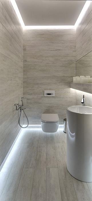 Оригинальный вариант создать комнату в светлых тонах с максимально необычной подсветкой, что создаст необыкновенную атмосферу.