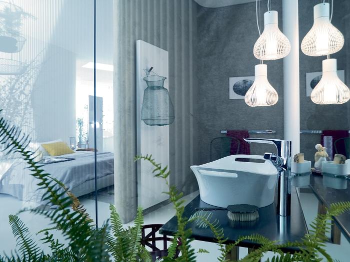 Хороший и просто отличный вариант обустроить ванную комнату оптимально с оригинальной прозрачной стеклянной стеной.