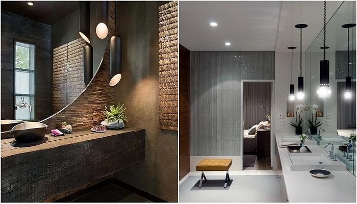 Прекрасные примеры оформления ванной комнаты при помощи оригинального освещения.
