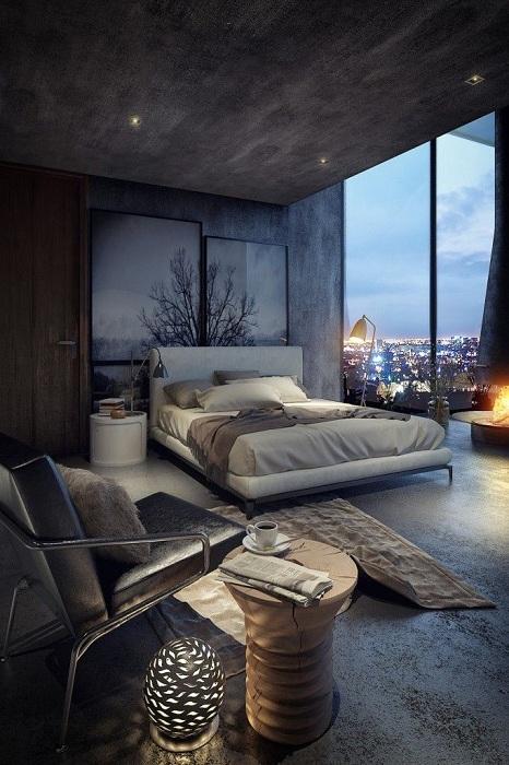 Современный красивый скульптурный ствол дерева, который украсит любой интерьер в спальне.