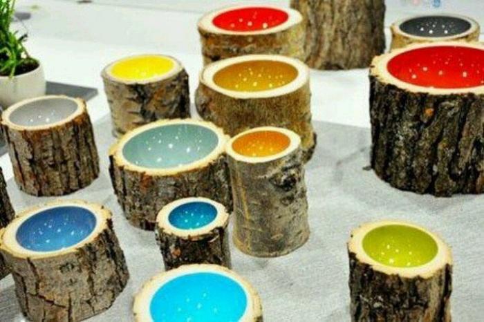 Заполнение срезов дерева керамикой - один из вариантов декора для любой комнаты.