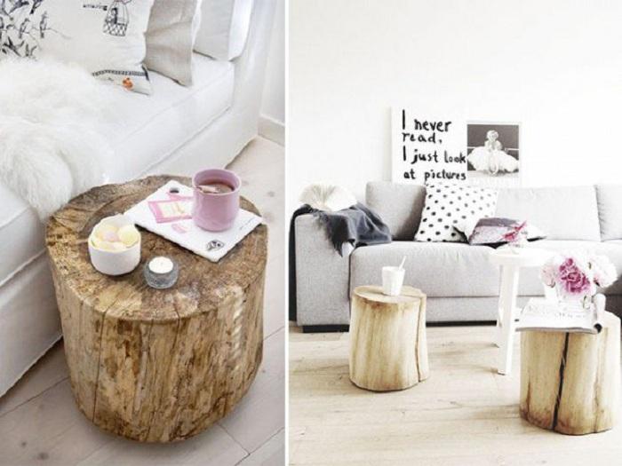Прекрасный вариант создать стол-тумбочку из среза дерева.