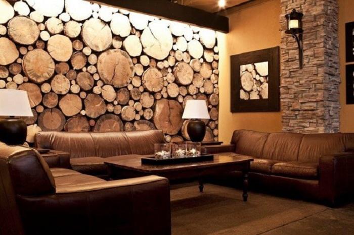 Красивое оформление стены деревом - симпатичный элемент декора.