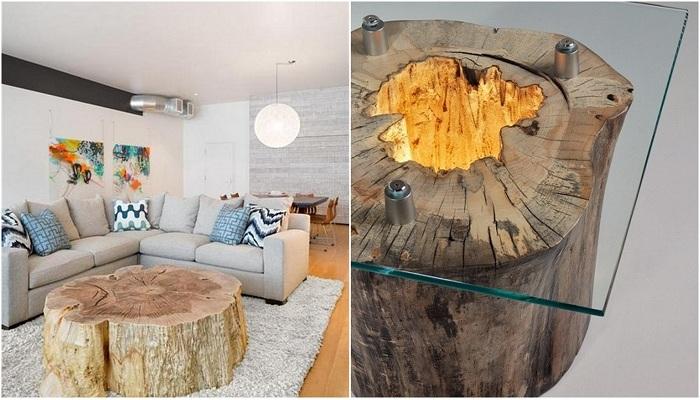 Идеи оформления декора комнаты стволами деревьев.