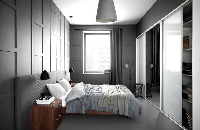 Спальня оформлена в серых тонах - очаровательный и яркий интерьер.