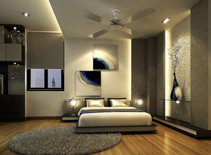 Оригинальный интерьер спальни с современными акцетами.