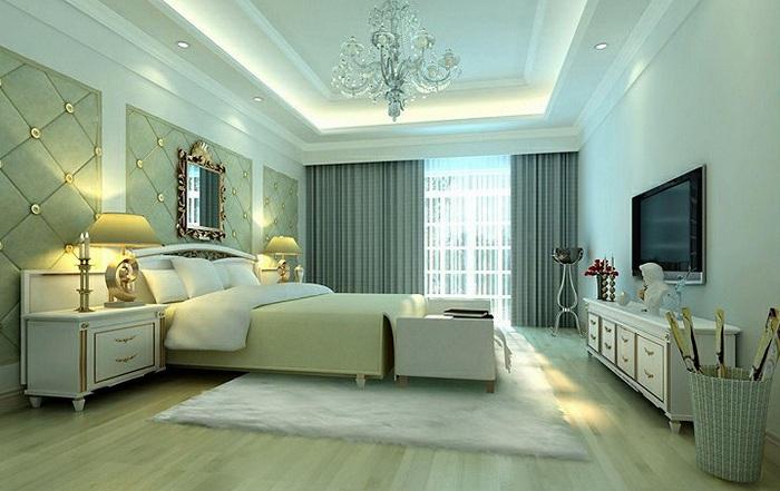 Симпатичный и оригинальный интерьер спальни в светлых тонах.