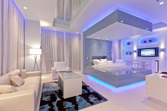 Красивый и уютный интерьер спальной совмещенной с гостиной, станет просто находкой.