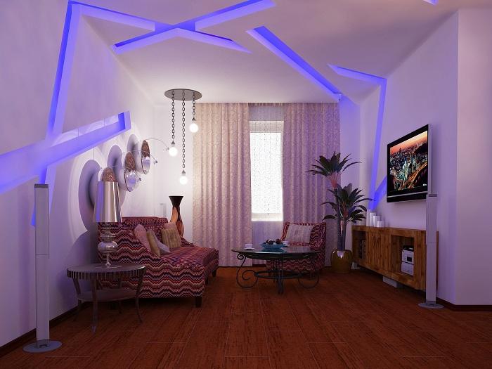 Крутой вариант оформления интерьера синим светодиодным освещением.