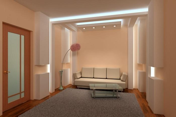 Одно из лучших решений создать бежевую гостиную с оригинальным освещеним.