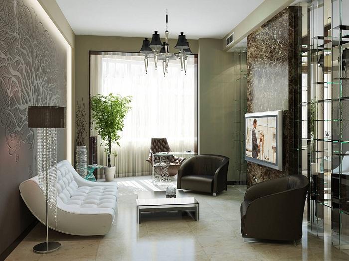 Крутая светодиодная подсветка, создаст оригинальную амфосферу в гостиной.