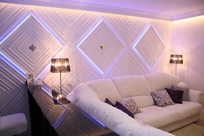 Пожалуй лучший пример оформления стены с помощью светодиодных ламп.