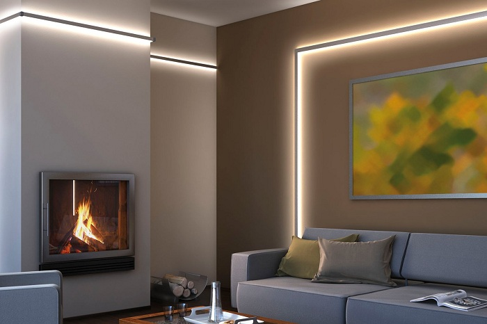 Красивый пример декорирования комнаты с помощью оригинальной подсветки, что зрительно увеличит пространство.