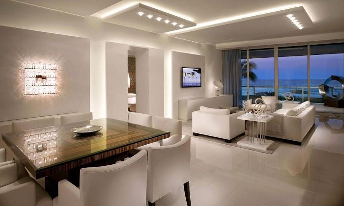 Лучший пример оформления гостиной спомощью подсветки.