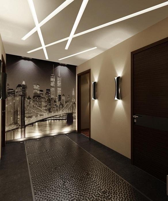 Комната оформлена в черно-белых тонах с потрясающей подсветкой, что однозначно вдохновит.