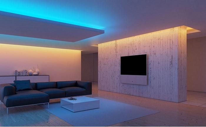 Примеры декора интерьера с помощью светодиодных ламп.